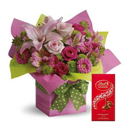 Mixed Flowers Arrangement and Lindt Chocolate Combo: Flowers and Chocolate Delivery