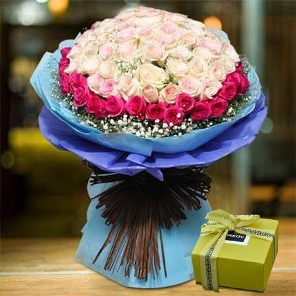 Splendid Roses Bouquet and Patchi Chocolate Combo: Best Chocolate in Dubai