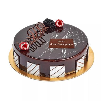 Chocolate Truffle Anniversary Cake: Eggless Cakes