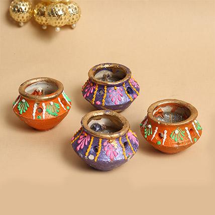 Decorative Matka Diyas 4 Pieces: Diwali Diyas for Sale