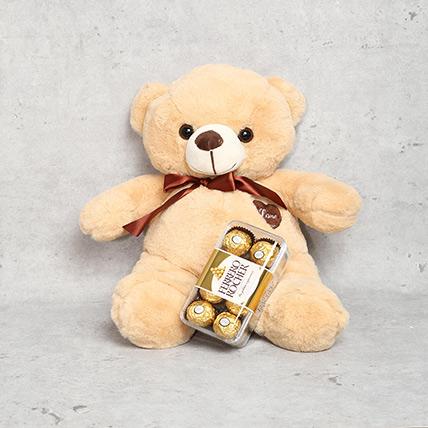 Coffee Brown Teddy Bear and Ferrero Rocher Chocolate Box: Anniversary Chocolates