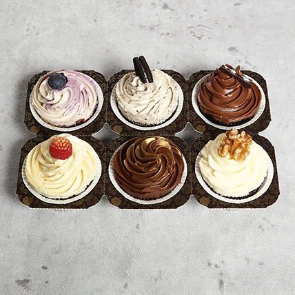 6 Assorted Desginer Cupcakes: