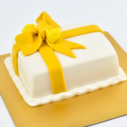 Designer Gift Wrapped Mono Cake: One Hour Delivery Cakes