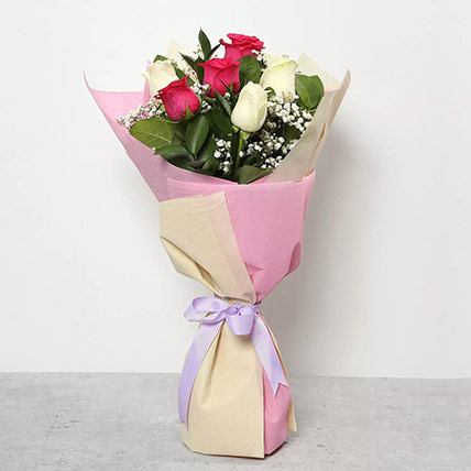 Pink and White Roses Bouquet: Gifts for Employees