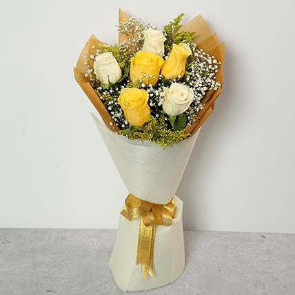 White and Yellow Roses Bouquet: Flower Delivery for Colleague