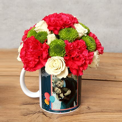 Carnations and Roses in Birthday Mug: Personalized Mugs Dubai