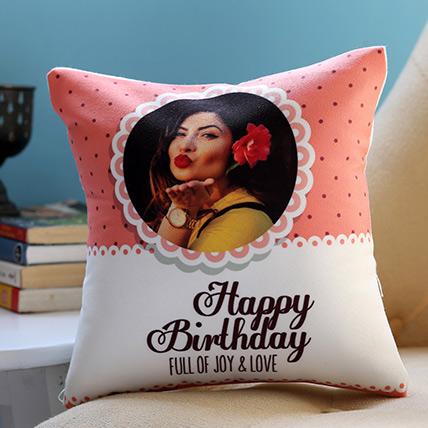 Personalised Joy and Love Birthday Cushion: Birthday Cushions