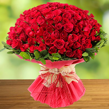 100 Red Roses: Flower Delivery Ajman