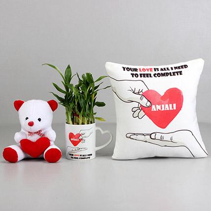 Love Is All I Need Personalised Cushion and Mug Combo: Anniversary Cushions
