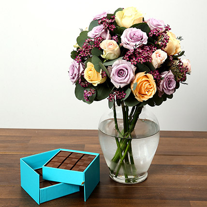 Mixed Rose Arrangement and Belgian Chocolate Combo: Anniversary Flowers & Chocolates