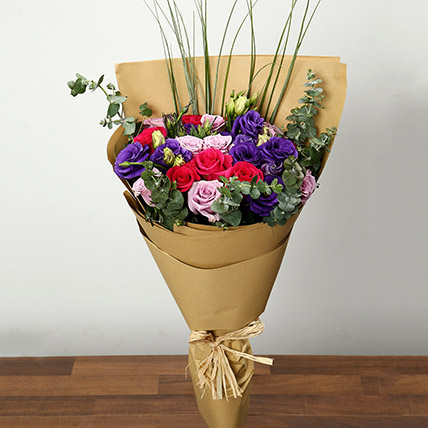 Purple and Pink Roses Bouquet: