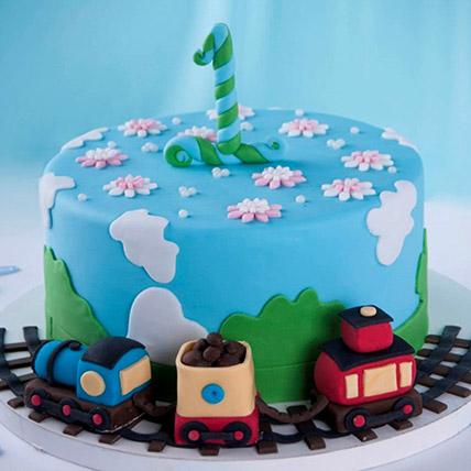 Train Theme Cake For 1st Birthday 3 Kg: 1 year birthday cake