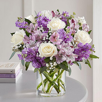 Purple and White Floral Bunch In Glass Vase: Carnation Flower Bouquet
