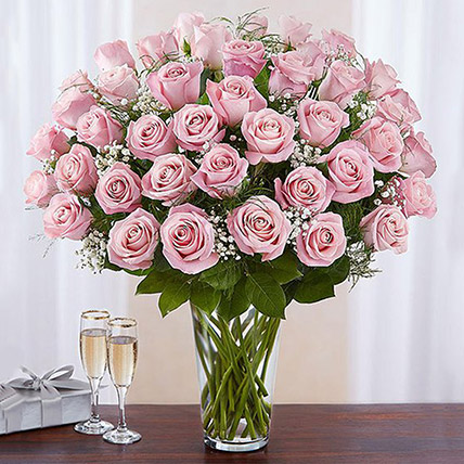 Bunch of 50 Gorgeous Pink Roses: Anniversary Flowers to Sharjah