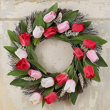Beautiful Wreath Of Tulips and Veronica: Flower Wreath