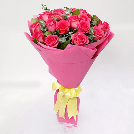 Ravishing 20 Dark Pink Roses Bouquet: Birthday Flower Bouquets