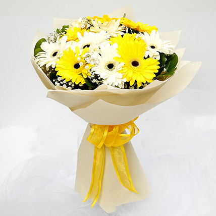 White and Yellow Gerbera Bouquet: