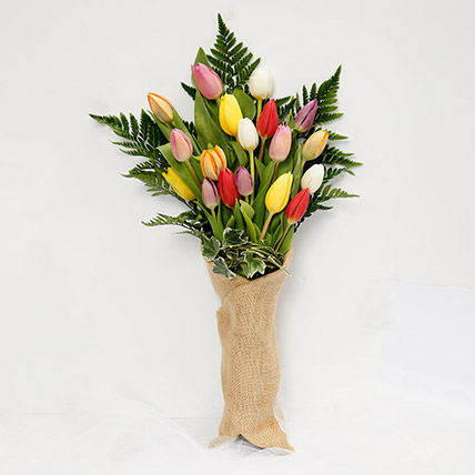 Jute Wrapped 20 Tulips Bouquet: Tulip Flowers