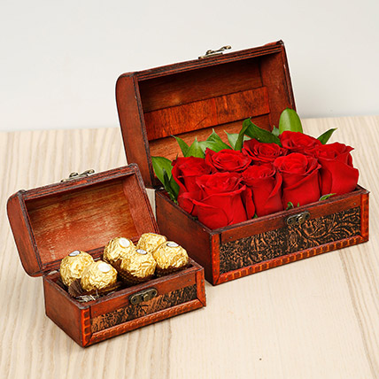 Passionate Red Roses and Chocolates Box: Sorry Flowers