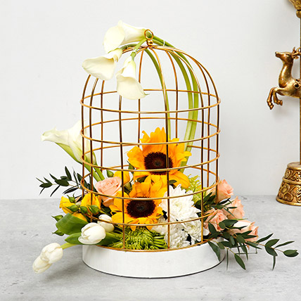 Mix Flowers Cage Arrangement: Sunflowers Bouquets