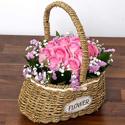 Soft Pink Roses Basket: Birthday Basket Arrangements
