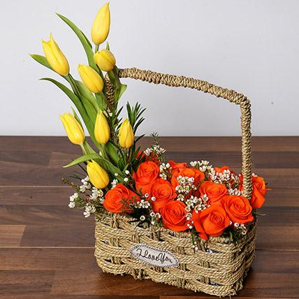 Orange Roses and Yellow Tulips Basket: Tulip Flowers