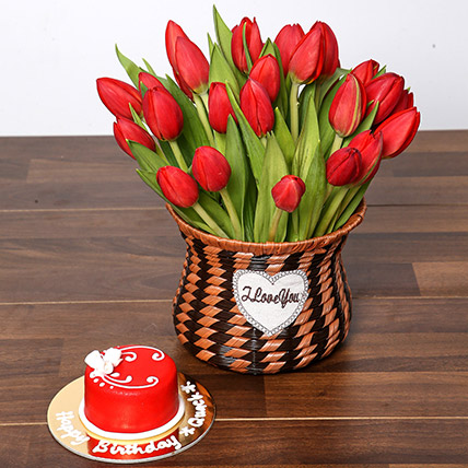 Blissful Red Tulips Basket and Cake: Anniversary Flowers & Cakes