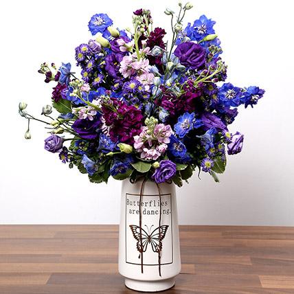 Purple and Blue Flower Arrangement: