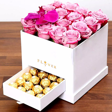 Hues Of Purple and Chocolates: Flowers and Chocolate Delivery