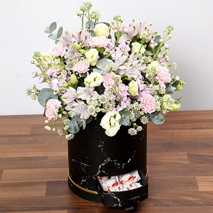 Pink and White Floral Box With Chocolates: Carnation Flower Bouquet