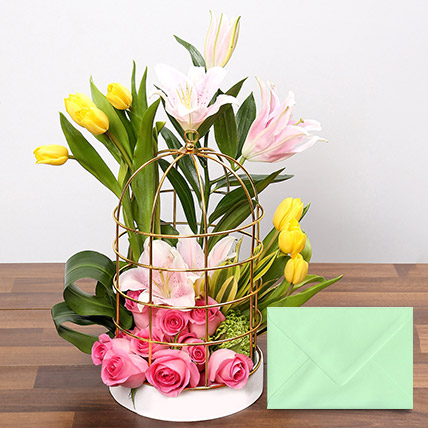 Floral Cage Arrangement With Greeting Card: Anniversary Flowers & Greeting Cards