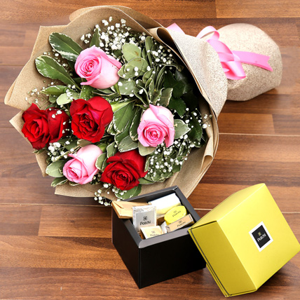 Mixed Roses Bouquet and Patchi Chocolate Combo: