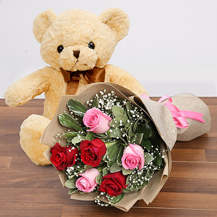 Charming Roses and Teddy Combo: Miss You Gifts