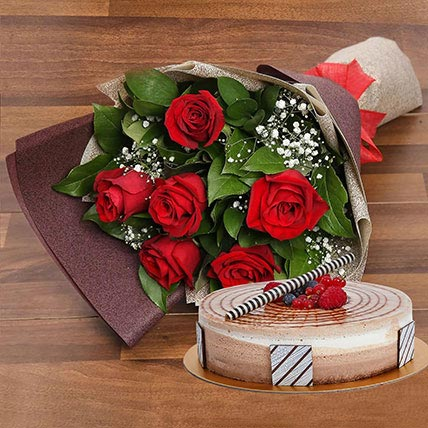 Triple Chocolate Cake and Red Roses Bouquet Combo: Christmas Flowers & Cakes