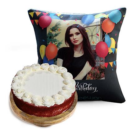 Birthday Balloon Cushion and Red Velvet Cake: Red Velvet Cake Dubai