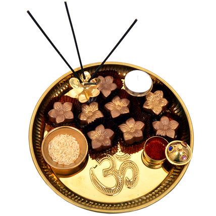 Golden Brown Raksha Bandhan Tray: Rakhi in Sharjah