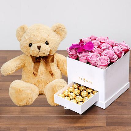 Hues Of Purple and Teddy Bear: Birthday Flowers & Teddy Bears