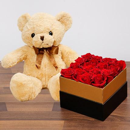 Idyllic Red Roses and Teddy Bear: Birthday Flowers & Teddy Bears
