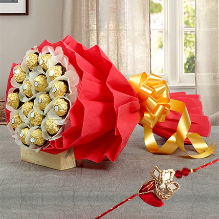 Chocolate bouquet with Rakhi: Rakhi Gifts for Brother
