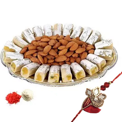 Rakhi with Kaju Roll n Almonds:  Rakhi Delivery