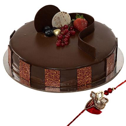 Rakhi with Chocolate Truffle Cake: Rakhi With Cakes