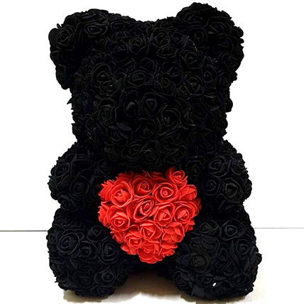 Artificial Black and Red Roses Teddy: