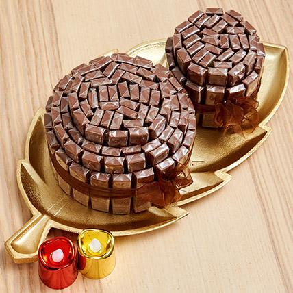 Golden Tray Of Belgian Chocolate Sticks: Diwali Chocolate Hampers