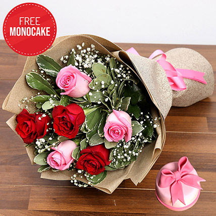 Pink and Red Roses With Free Mono Cake: