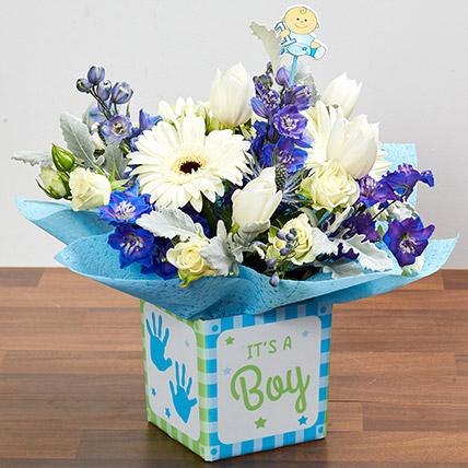 It's A Boy Flower Vase: New Born Flowers