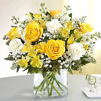 Yellow and White Mixed Flower Vase: Flower Arrangements
