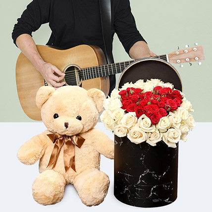 Adorable Gift Of Music: Flowers & Guitarist Service