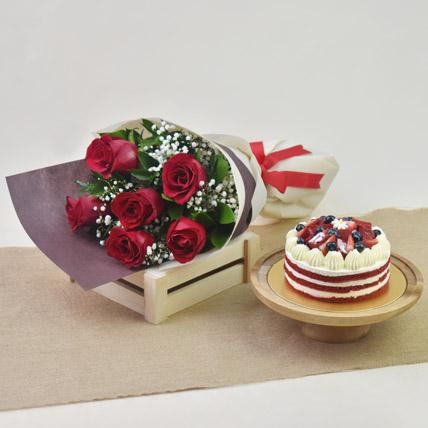 Red Roses with Red Velvet Cake: Anniversary Flowers for Husband