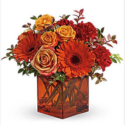 Ornamental Orange Floral Arrangement: Halloween Flowers