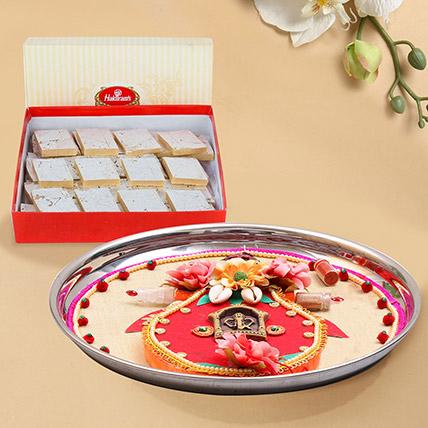 Designer Thali Combo With Kaju Katli: Pooja Thali